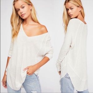 Free People Cream Waffle Catalina Thermal Top